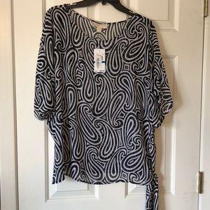 BNWT Michael Kors Black and white swirl blouse